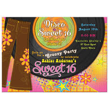 sweet 16 photo album 1970s disco sweet 16 invitation bellbottoms record album