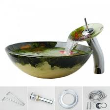 Vessel Sink Waterfall Faucet Sink Set Round Tempered Glass Vessel Sink With Waterfall Faucet