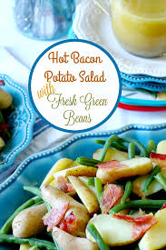 bacon potato salad with fresh green beans and a dijon mustard