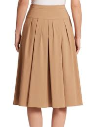 cotton skirt lyst michael kors pleated stretch cotton skirt in
