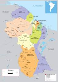 guyana on world map large detailed political and administrative map of guyana with