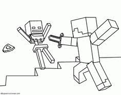 fight mobs coloring minecraft video game