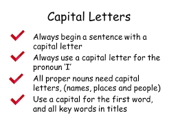 capital letters and full stops by head in a book teaching