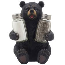 amazon com decorative black bear glass salt and pepper shaker set