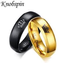 Black Gold Wedding Rings by King And Queen Couple Rings Black Gold Color Stainless Steel Crown