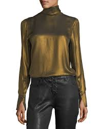 metallic blouse frame turtleneck sleeve metallic blouse