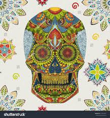 halloween background sugar skulls day dead sugar skull seamless pattern stock illustration 377934523