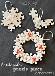 handmade puzzle piece ornaments holiday craft puzzle pieces