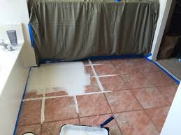 How To Paint A Tile Floor Bathroom - oh floor how i love thee painted tile domestic blonde