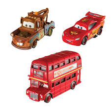 cars characters mater amazon com cars 2 collector double decker bus mater and