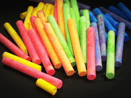 pink yellow green and blue chalk free stock photo