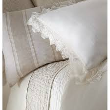 camilla lace linen duvet cover ivory