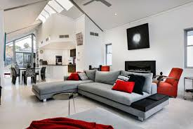 red and white home interior design with fascinating color