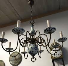 Blue Delft Chandelier Sold To Els Vintage Brass Porcelain Delft Blue Chandelier