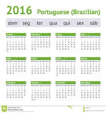 2016 portuguese american calendar week starts on sunday stock