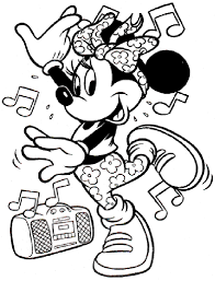 minnie playing music coloring pages kids edt printable