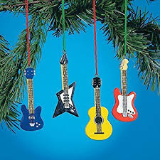 set of 4 guitar ornaments bass electric accoustic