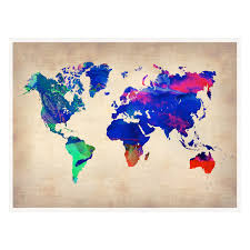 Watercolor Map Of The World by World Watercolor Poster Naxart Countries Continents Touch Of