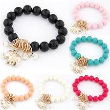 charm bracelet with beads images Lemoer hot fashion black candy color beads bracelet elephant jpg