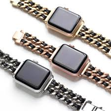 band gold bezels bytes chainlink leather apple band cult of mac
