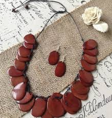 earrings statement necklace images Tagua nut brown bib necklace and earrings set galapagos tagua jpg