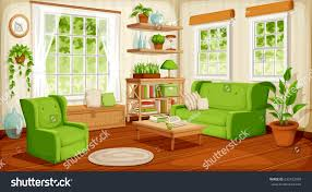 vector cozy living room interior big stock vector 632432969 vector cozy living room interior with big windows sofa armchair and houseplants