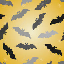 seamless halloween background black bat seamless pattern on yellow halloween background vector