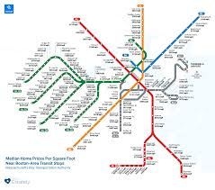 map shows how much it costs to live near each of boston u0027s mbta