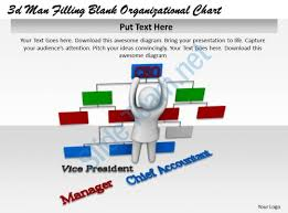 3d man filling blank organizational chart ppt graphics icons