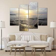 sea home decor aliexpress com buy 4 panel sea scenery with beach modern wall art
