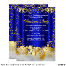 Christmas Party Invitations With Rsvp Cards - royal blue gold bow bauble white christmas party card christmas