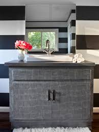 Cabinets For Bathroom Vanity by Update A Vanity With Wallpaper Hgtv