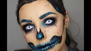Halloween Skull Makeup Tutorial Glitter Skull Make Up Tutorial 31 Days Of Halloween Youtube