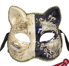 venetian masquerade mask blue and white party animal mask cat masks venetian