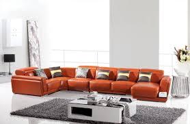 orange leather sectional sofa divani casa 2996 modern orange leather sectional sofa