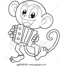 music monkey cartoon monkey playing trumpet black white