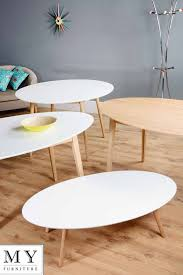 white oval coffee table tretton retro solid oak or lacquered white round oval rectangle