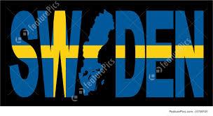 Sweden Flag Image Illustration Of Sweden Text With Map