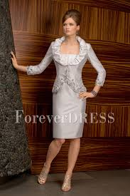 elegant mother of the bride dress knee length dress in grey