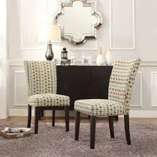 Parsons Dining Chairs Furniture Home Deluxe Fabric Brown Gold Motif Floral With