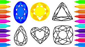 diamond colouring pages educational clip how to draw diamond