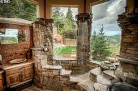 log home master bathrooms terracotta rustic sandstone flat