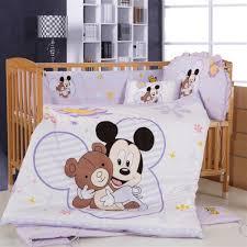 Minnie Crib Bedding Set Wholesale New Brand 100 Cotton Embroidered Mickey Minnie Baby Cot