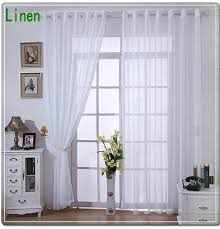 Solid Color Curtains New Arrival Linen Tulle Voile Sheer Curtains For Home White