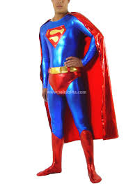 blue and red glueing superhero costume with cape salelolita com