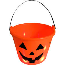 Halloween Candy Gift Baskets by Led Light Up Halloween Candy Bucket Orange Pumpkin Walmart Com