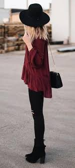 all black casual all black burgundy top boho style fashion