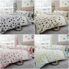 triangle bedding geo triangle teal grey natural pink reversible duvet quilt cover