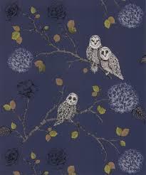 arthouse night owl midnight blue wallpaper 665002 glitter birds trees