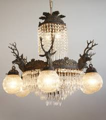 Chandelier Company 6 Arm Stag Head Chandelier With Globes The Vintage Chandelier